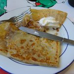 Tasty crepe with creme de marron filling - very sweet.