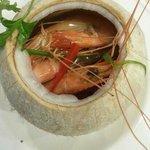 steamed prawns in coconut