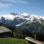 view from the terrace seating at Bergrestaurant Buhlberg, Lenk