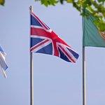 Union Flag being flown upside down (inverted) in Garda town.