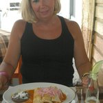 Dee enjoying Tacos De Cochinita Pibil