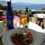 The Greek salad was good at Mezzo Cafe in Oia