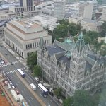 View of Old City Hall from observation deck of  New City Hall