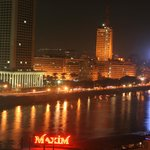 Nile view with city line at night from Room Balcony