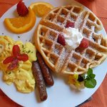Orange flavored waffle, one of Buddy's specials