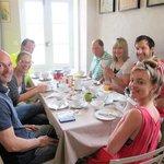 German, American and British families enjoying breakfast