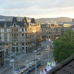 View from 6th floor room at sunset, Central Plaza Hotel, Zurich