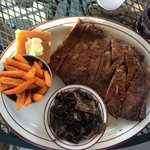 Ribs plate with collards & sweet potato fries