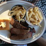 Brisket plate with onion straws and mac n'cheese