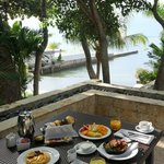 Perfect breakfast at our own balcony at the Oceanfront Spa villa