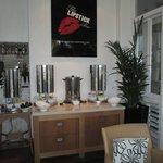 The plentiful tea and coffee area