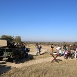 a unique morning stop while on Safari - pancakes, champagne, OJ, with our usual Amarula coffee
