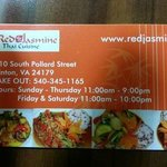 Business card with phone and hours