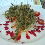 Sea asparagus fritters with rasberry sauce[cant remember exact name]Deliscious!