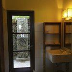 Outdoor shower on ground floor room