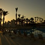 Sunset over part of pool
