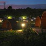 Camping pods at night