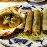 Our delicious starter of spring rolls and scallops