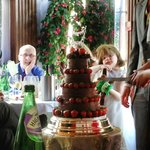 Our wedding cake, lovingly decorated and set up by Wil and his team