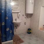 Spacious shower and toilet