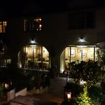 restaurant frontage (at night)