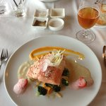 Ranga river Salmon with strawberries and champagne mousse (arctic char on the rear of the pictur