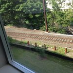 train tracks right outside window