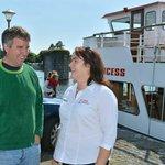 Douglas Kennedy being welcomed on board by Róisín Sweeney