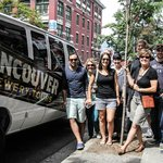 The Vancouver Brewery Tours bus and tour group
