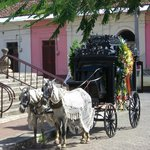 Horse-drawn hearse in front of church