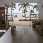 Reception with view to the beach
