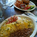 Green chile smothered burrito & Elk Burger