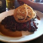 Bavette and onion rings