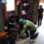 Getting fitted for Crampons