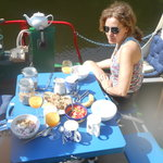 Relaxing breakfast by the river