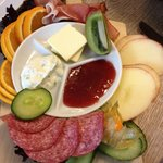 Breakfast board with cold cuts and cheese