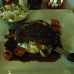 Filet Mignon over mashed patatoes w/ slaw(optional side)