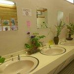 花が飾られた洗面所