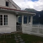 Outside of the house and view to the Feigenfossen waterfall