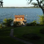 Boat house with ishing pier on property!