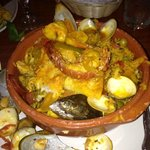 Seafood Paella- Lobster, oysters, clams, shrimp, chicken, more