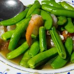 green beans, shrimps and oyster sauce