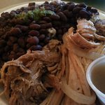 Pulled Pork Plate with Black Beans & Rice with Mojo Sauce on the side