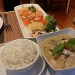 "Thai green curry and ""Pad Prew Wan"" (stir-fry prawns and veg with pineapple in sweet & sour sauc"