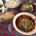 Nam Ngiao with Khaeb Muu and rice