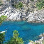 Crystal clear water in the cove directly below the villa