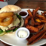 burger with onion ring, cheese and bacon + sweet potato chips!