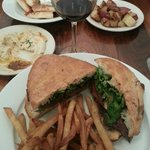 Hanger Steak sadwich and Hummus