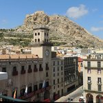 View from our balcony, Town Hall and square with castle above