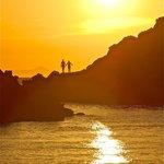 Bagnanti al tramonto